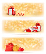 Set of holiday christmas banners with gift boxes and ribbon. Vec