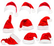 Collection of red santa hats. Vector. - 58325982