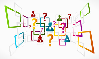 Abstract questions vector concept background grid illustration