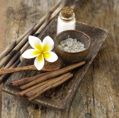Natural spa set on old wood background