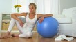 Healthy woman with balance ball