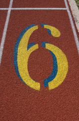 Red Running Track Lane Number 6