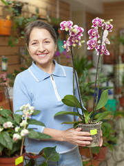 woman with Phalaenopsis orchid at flower shop