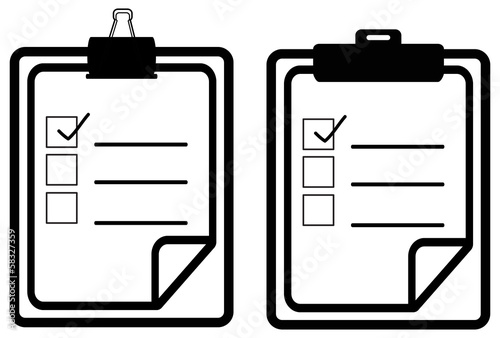 Silhouette two check list board icons (vector)