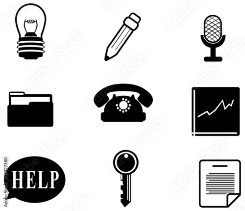 Silhouette office and business miscellaneous icon set (vector)