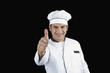 Portrait of a chef gesturing thumbs up sign