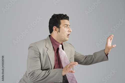 Businessman looking scared