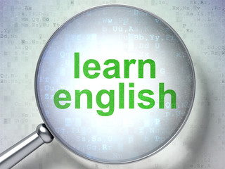 Education concept: Learn English with optical glass
