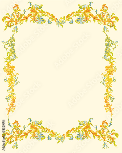 Decorative ornamental floral page classical decor