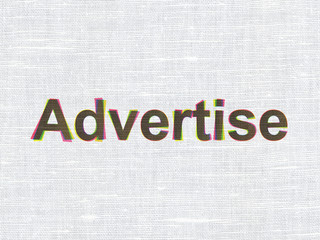 Advertising concept: Advertise on fabric texture background
