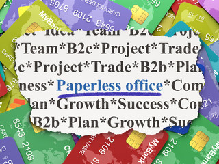 Finance concept: Paperless Office on Credit Card background