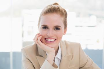 Close up portrait of elegant businesswoman smiling