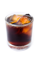 Cola with ice in a glass