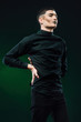 Постер, плакат: Single Man Fashion Photoset like Star Trek On green back ground