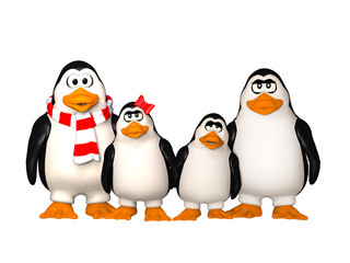 happy penguins family