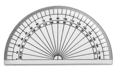 Close-up of a protractor