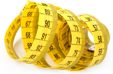 Twisted yellow measuring tape