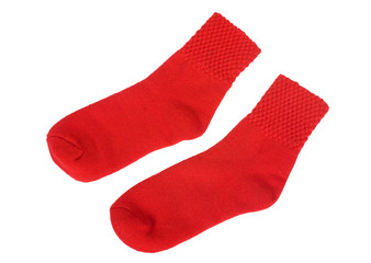Close-up of a pair of red socks
