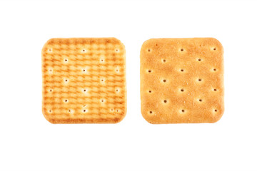 Two crackers on an isolated background