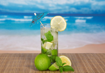 Mojito, lemon slice on bamboo cloth