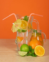 Drink, glass with umbrella and straws