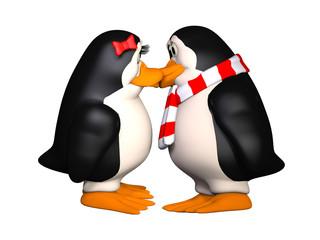 happy penguins in love