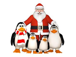 happy penguins family with Santa