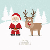 santa and reindeer snowy winter background