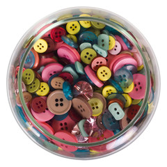 Close-up of a jar of buttons