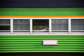 Vintage green train windows