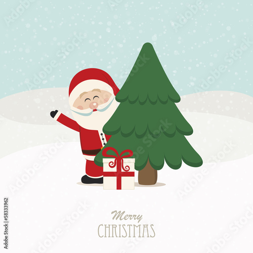santa wave behind tree snowy background