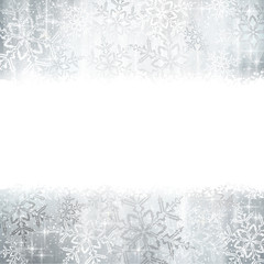 Silver Christmas, winter background with snowflakes