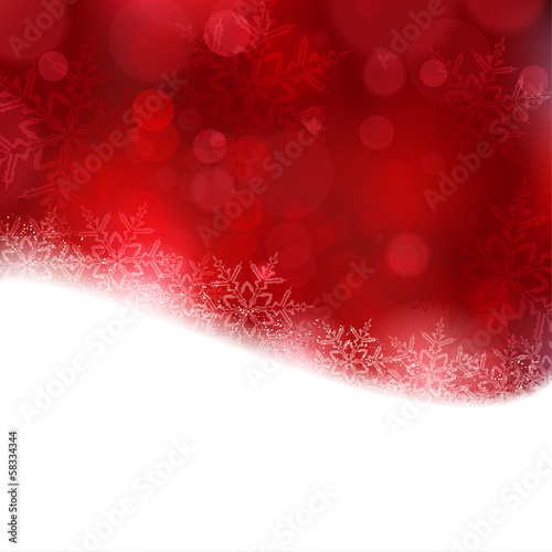 Red Christmas background with blurry lights