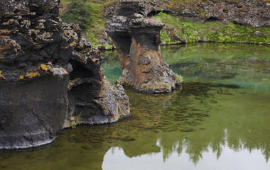 Lake and lava formations in Myvatn Iceland