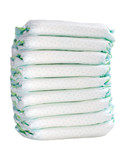 pile of 9 diapers on white background