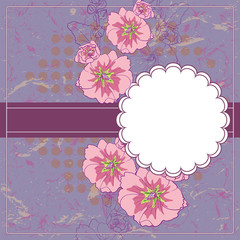 Vector Vintage Floral Frame With Blooming Mallow.