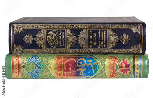 Close-up of the Koran books
