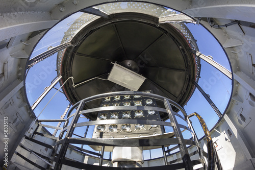 the inside of a lighthouse on the Baltic coast in Rozewie