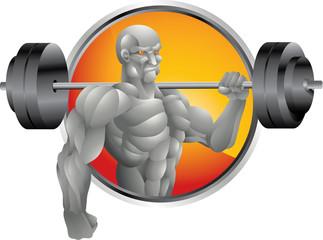 silver bodybuilder with weights background