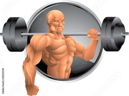 bodybuilder with weights background