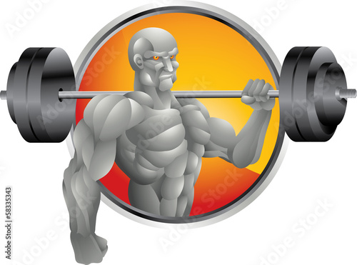 silver bodybuilder with weights background