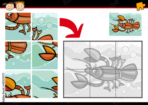 cartoon crayfish jigsaw puzzle game
