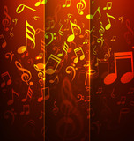 abstract music notes bright colorful background illustration vec