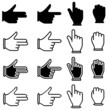 set of hand cursor pictograms
