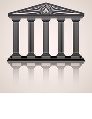 Antique roman temple stylized  background