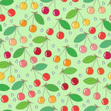 Cherries seamless pattern
