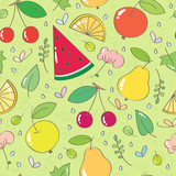 Seamless pattern with fruits and berries