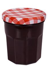 Close-up of a jar of strawberry jam