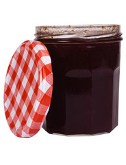Close-up of a jar of strawberry jam