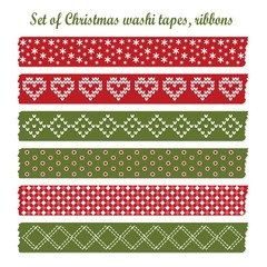 Set of christmas washi tapes, ribbons, vector patterns